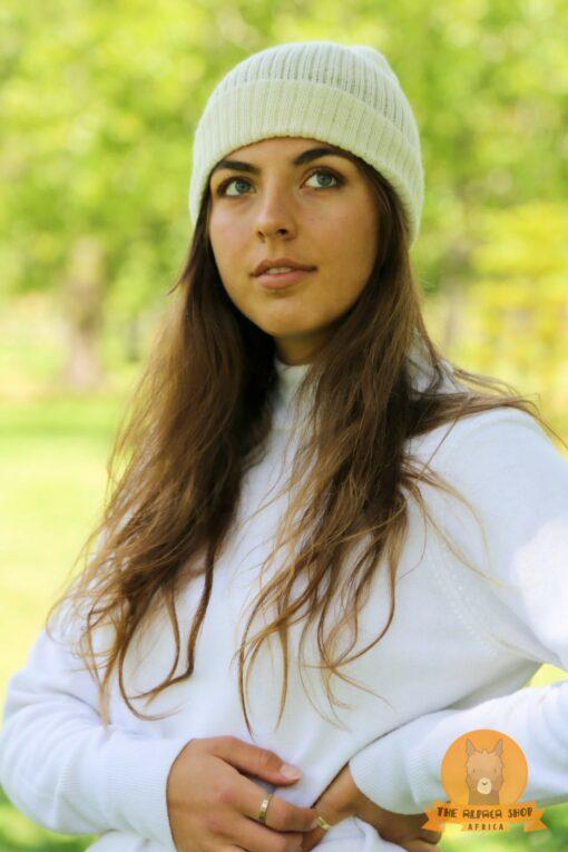 Alpaca Beanie White